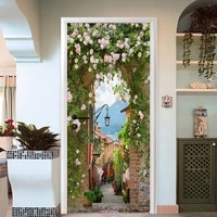 3d wall door sticker painting pastoral landscape wallpaper living room dining room home decoration decals pvc waterproof poster