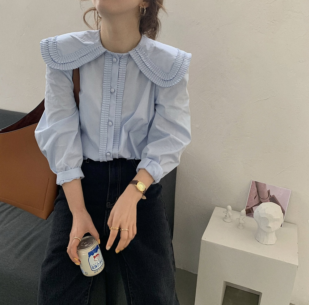 H1616363f10ce4f13804b7047d5217b7b1 - Spring / Autumn Frilled Big Lapel Collar Long Sleeves Solid Blouse