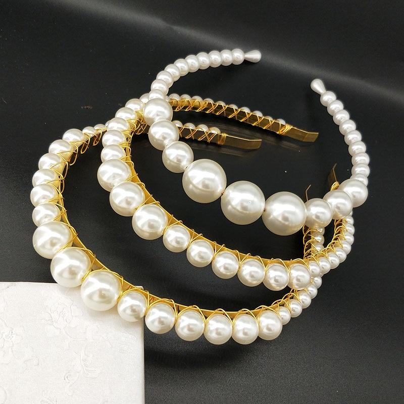 Diadema de boda dorada grande Vintage cristal nupcial Tiaras corona Diamante de imitación exuberantes accesorios para el cabello con perlas Tiara nupcial