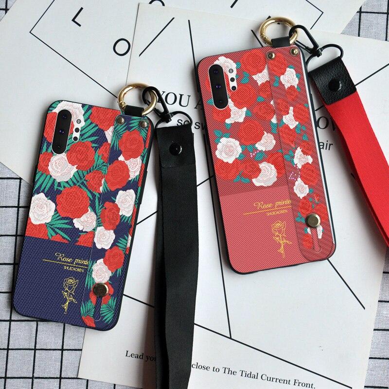 Pulsera Floral de moda funda para samsung Galaxy Note 8 9 10 Pro S8 S9 S10 Plus S10E 5G S11 lujosa cubierta de cordón de soporte de anillo