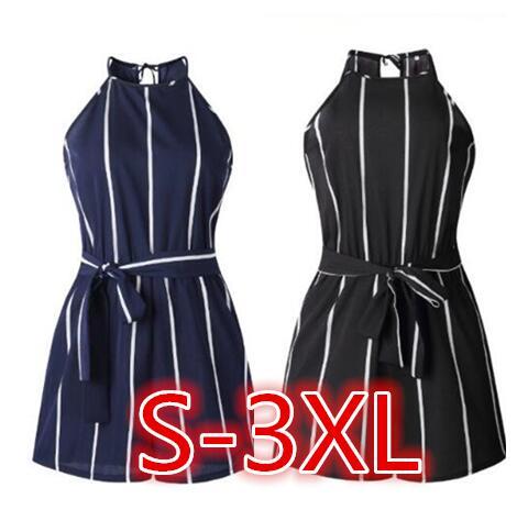 1 unidad negro blanco azul oscuro Tira sin mangas cuello redondo Strappy Short Playsuit rayas Cami Belt mujer beach Romper jumpsuit