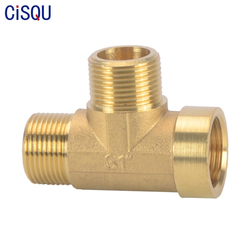 brass pipe hex nipple fitting quick adapter 1 8 1 4 3 8 1 2 3 4 1 bsp male thread water oil and gas connector Male×Male×Female Tee Type Brass Thread Adapter Pipe Fitting BSP Water Oil Gas Coupler 1/8 1/4 3/8 1/2 3/4 Inch Copper Connector