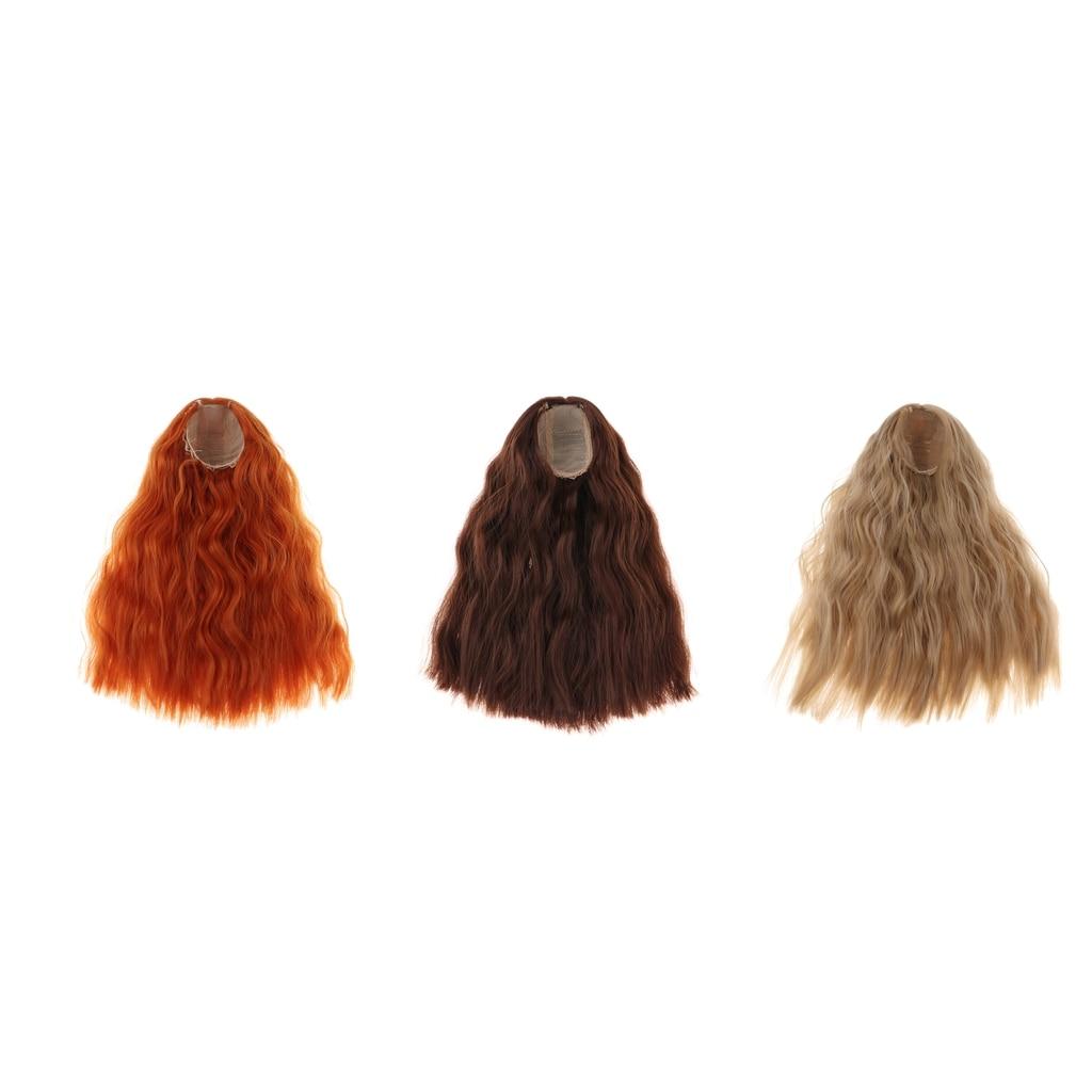 1/4 bjd peruca tamanho 7 polegada cabeça de alta temperatura peruca menina onda longa encaracolado boneca cabelo bjd boneca peruca