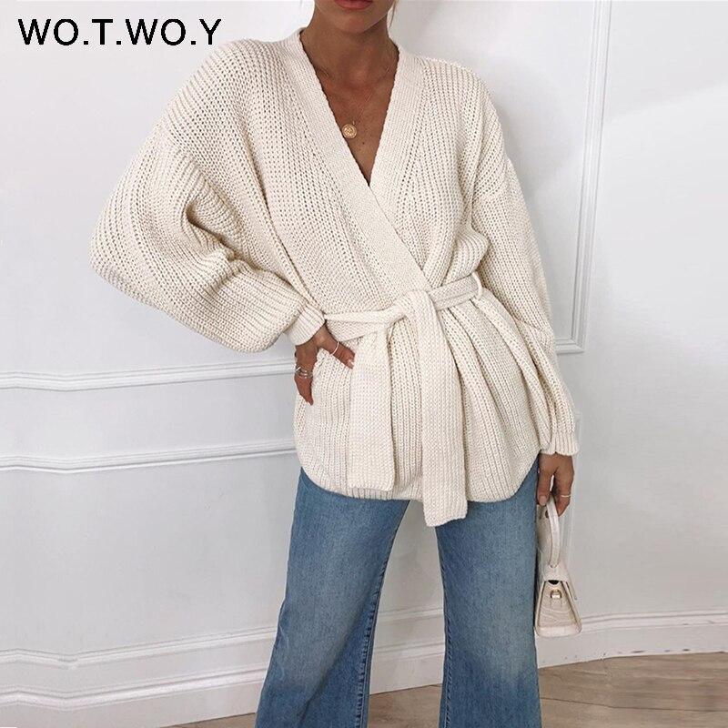 Wotwoy sexy decote em v malha cardigan feminino outono inverno manga longa recortada kimono cardigans feminino sólido oversized jumper 2020