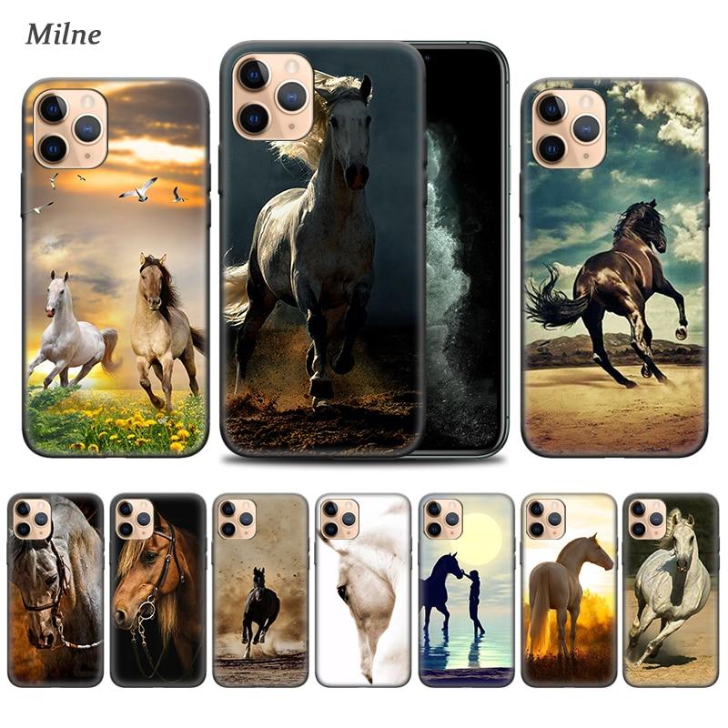 Fundas de animales de caballo para Apple iphone 11 Pro XS Max XR X 7 8 6 6S Plus 5 5S SE 5C negro suave cubierta de teléfono de Tampa