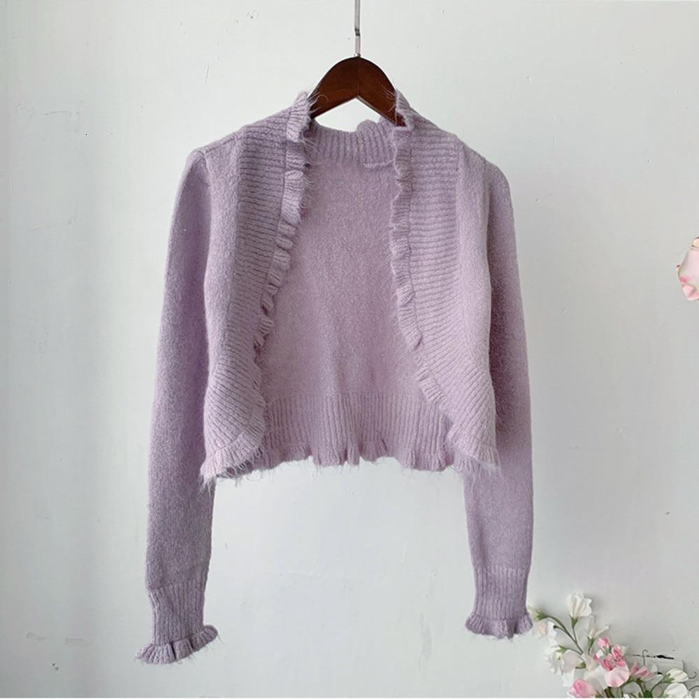 Corto suéter Cardigan otoño púrpura de las mujeres de manga larga chaqueta de Harajuku mujer de algodón abrigo Lolita ropa mujer