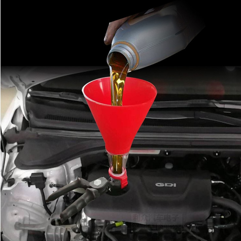 Universal Car Engine Oil Funnel Adjustable Gasoline Special Filling Equipment Kit Petrol Diesel   Brake Fluid Change Tools Motos