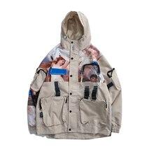 Chaqueta Techwear para hombre con muchos bolsillos Streetwear con capucha impermeable Cargo cortavientos