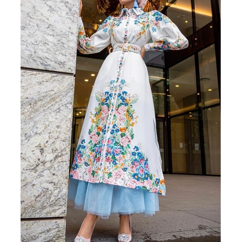 Mandylandy-Vestido largo musulmán con mangas abullonadas, ropa árabe de mujer musulmana, de...