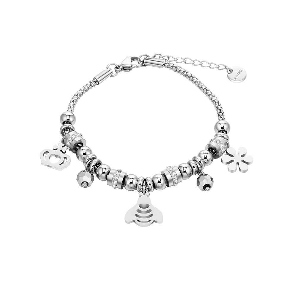 Pulsera de abalorios de cristal transparente para mujer, pulsera de acero inoxidable con bonita corona de princesa y abeja, regalo de joyería para mujer y chica