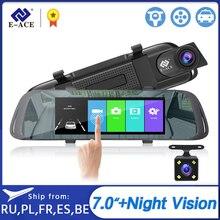 E-ACE Auto DVR 7,0 Zoll Touch Video Recorder Spiegel Kamera FHD 1080P Dual Objektiv mit Rückansicht Kamera Auto registrator Dash Cam
