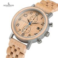 reloj hombre BOBO BIRD Men's Watch Handmade Wooden Watches Wood Metal Luxury Chronograph 2019 Awesome Gift C-S08