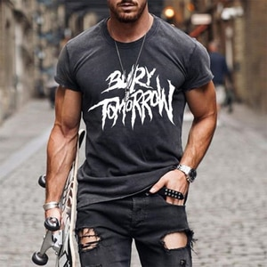 T-shirt For Men's Summer New O-neck Loose Short Sleeve Letter Print SportsTops Plus Size Casual Fashion Pullover Male Tshirt
