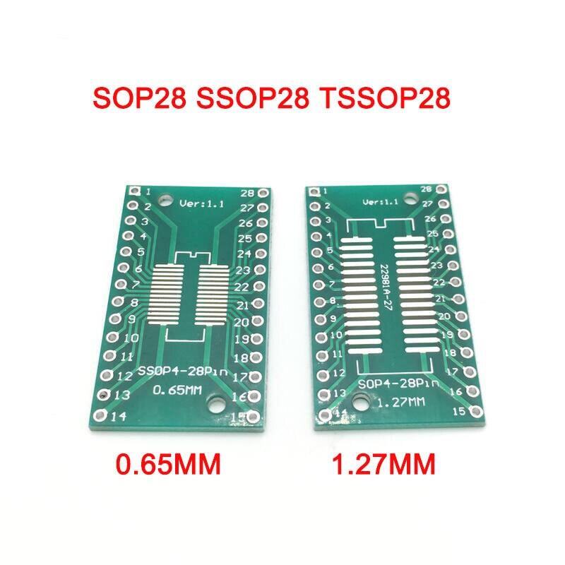 10 Uds SOP28 TSSOP28 DIP28 SMD a DIP IC enchufe adaptador conversor Módulo de placa PCB placa adaptadora 0,65mm 1,27mm circuito integrado