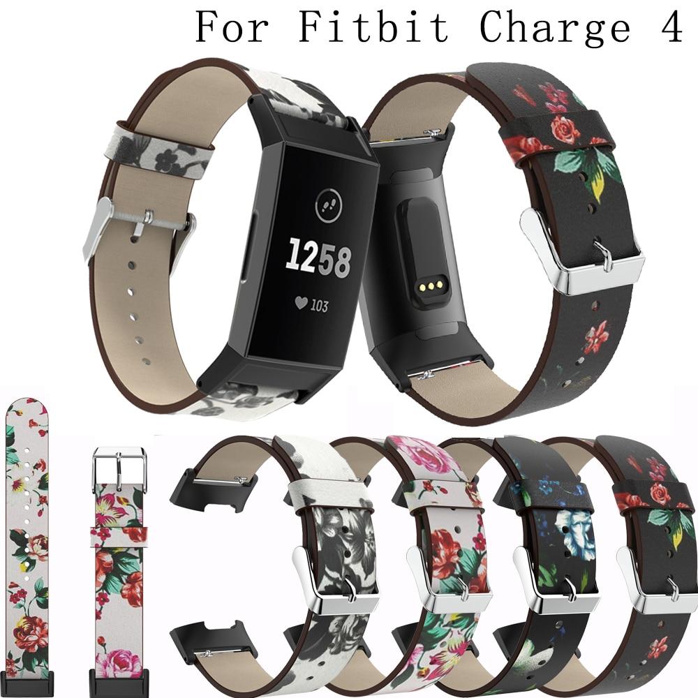 Nova moda de couro impresso cinta para fitbit carga 4 pulseiras acessórios pulseira substituição para fitbit carga 4 relógio banda