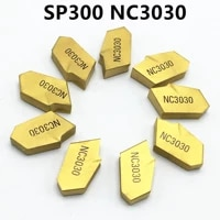 10 pieces sp300 nc3030 cutting blade lathe turning tool cnc carbide tool turning grooving blade sp300