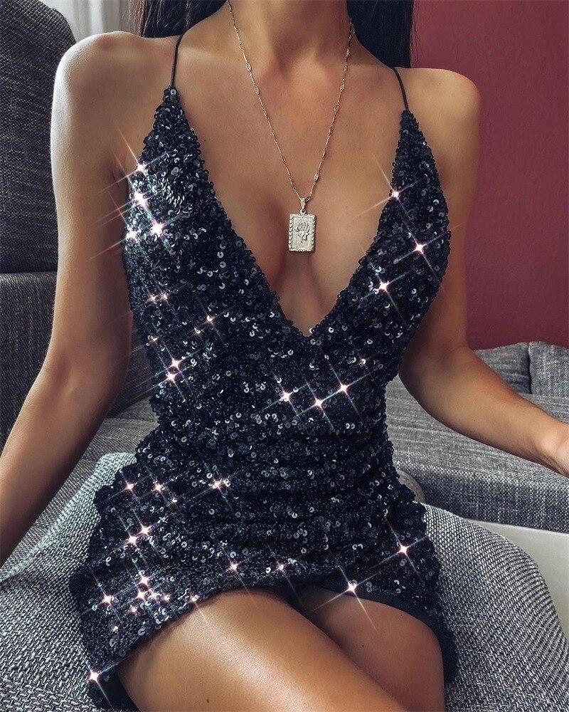Backless Sexy Party Sequin Dress Women Glitter Club Bodycon Mini Summer Spaghetti Strap Christmas Vestidos