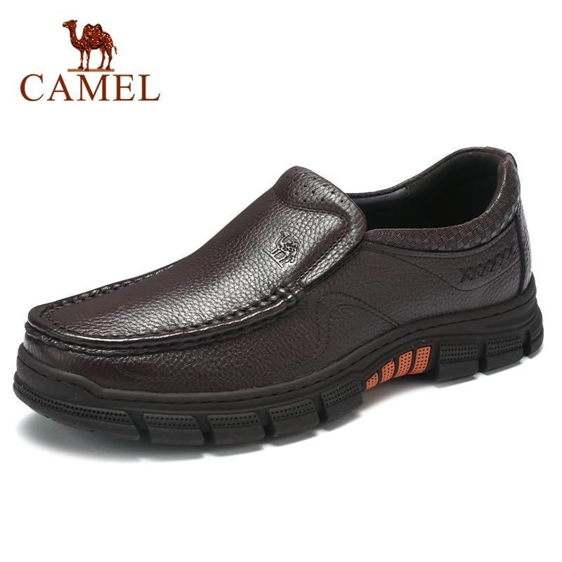 CAMELO Homens Sapatos de Negócios Sapatos de Couro Genuíno Sapatos Casuais Confortável Delicado Lichia Padrão Leve Não-deslizamento Mocassins Homens