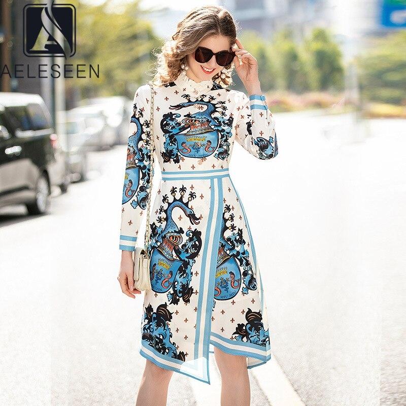 AELESEEN 2020 pasarela moda Primavera vestido manga larga volantes mujeres vestido letras flor vestido Irregular Vestidos Midi