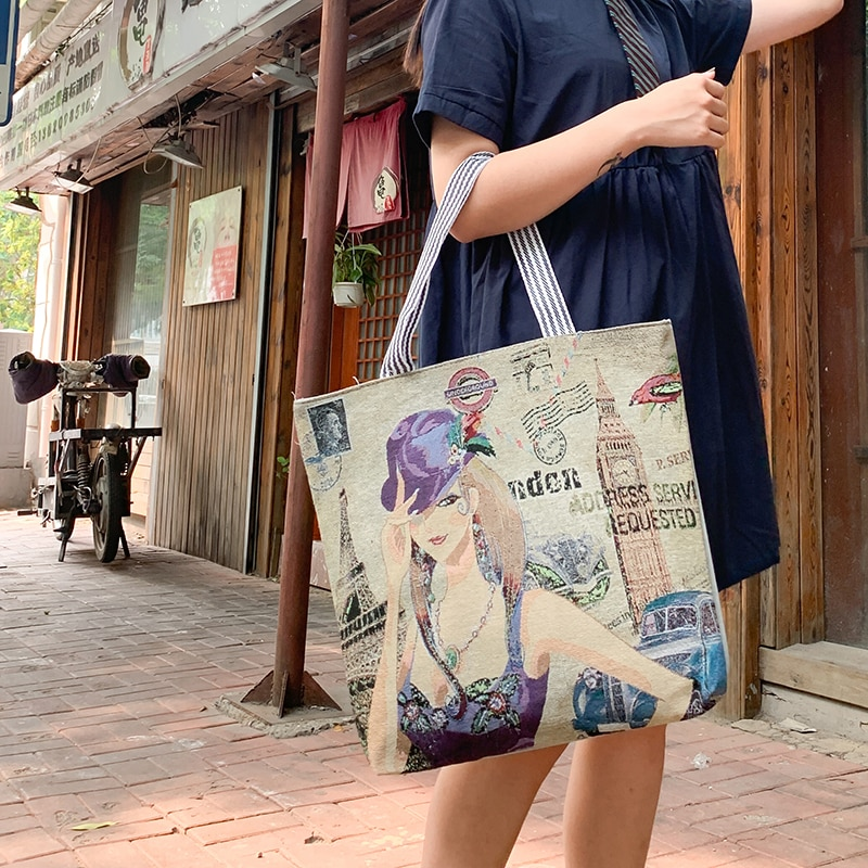 Bolsos de mano casuales a la moda para mujer 2020 carteras de lona bonitas para mujer bolsos de hombro coreanos de gran capacidad
