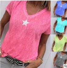 5colors Plus size 5XL Star Printed T-shirt Women Summer Short Sleeve Thin Tee Shirt Tops Sexy V Neck Tee Tops shein women shirts