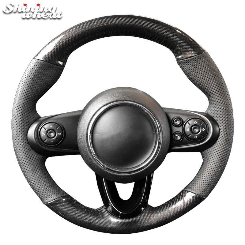 Cubierta del volante del coche de la fibra de carbono de la PU del cuero genuino negro del trigo brillante para Mini Coupe 2016
