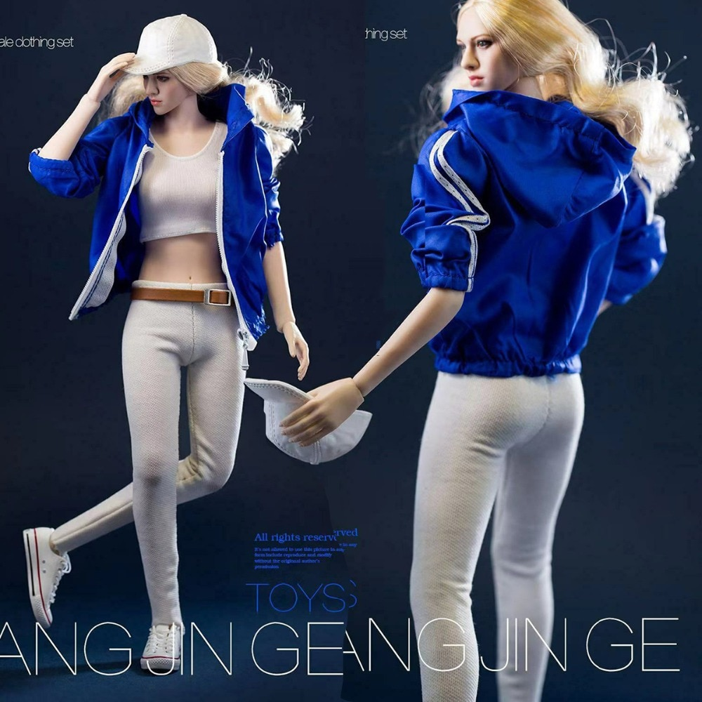 "Sexy 16 escala feminino figura roupas terno azul roupas esportivas jacke & branco colete + calças traje conjunto f 12 ""corpo feminino"