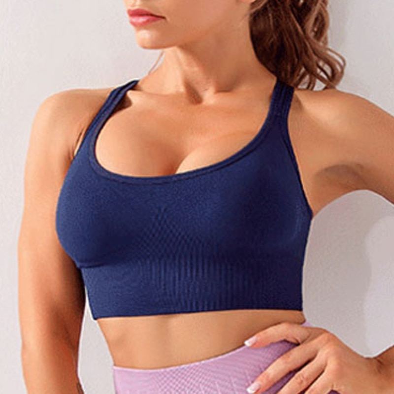 Women's New Vest-style Breasted Beauty Back Adjustable Sports Underwear Quick Dry Shockproof Yoga Running Fitness Sport Bra new style yoga bra women cross strap back sports vest running fitness quick dry gathering bra