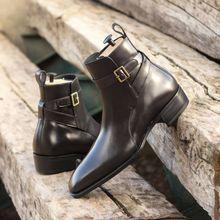 Fashion Men's Boots Simple Retro Classic Style Black Buckle Men's Shoes Pu Leather Ankle Boots Mens