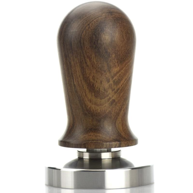 Hlzs-chacate Preto, mango de madera, prensa de café, martillo de manipulación de polvo, Base de acero inoxidable, guibortia, madera, Barista, Espresso, Tamper 58