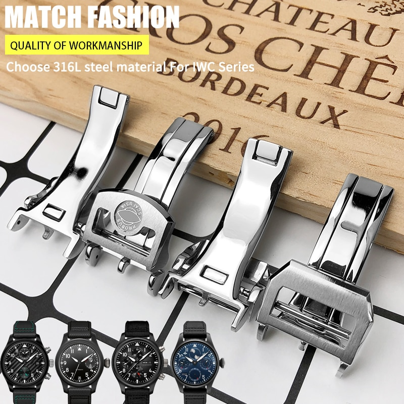 316L Stainless Steel 18mm Deployment Watch Buckle fit for IWC Big Pilot Spitfire Leather Watchband F