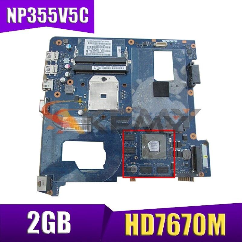 AKEMY لسامسونج NP355V5C 355V5C اللوحة المحمول BA59-03568A QMLE4 LA-8863P HD7670M 2GB 100% اختبار