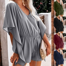Fashion Bat Sleeve Loose Casual Jumpsuit Women 2021 Summer Rompers Playsuits Women Clothing Short Fe