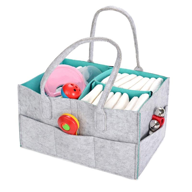 New Creative Gray Felt Diaper Storage Bag Baby Diaper Storage Multi-function Storage Box Storage Tool Home Tools
