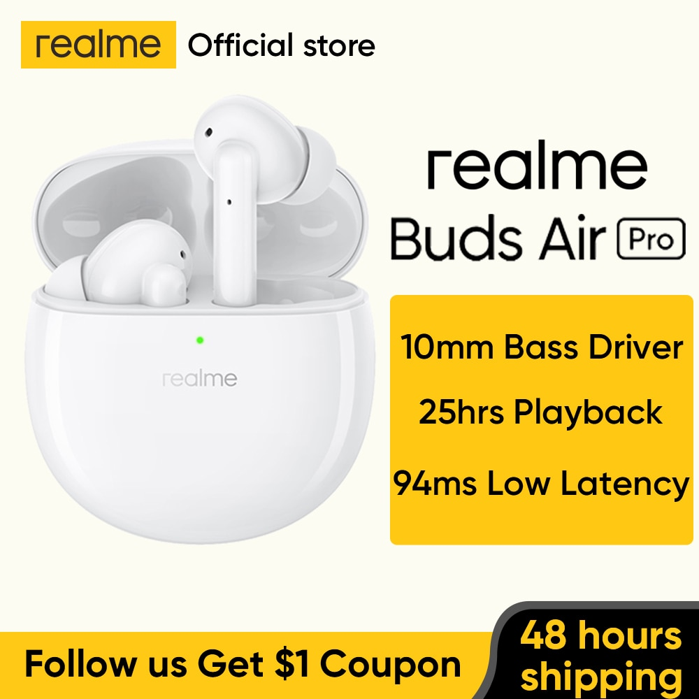 Realme-سماعة رأس لاسلكية Buds Air Pro ، إصدار عالمي ، TWS ، ANC ، ENC ، إلغاء نشط للضوضاء ، تشغيل 35 ديسيبل ، شحن سريع 25 ساعة