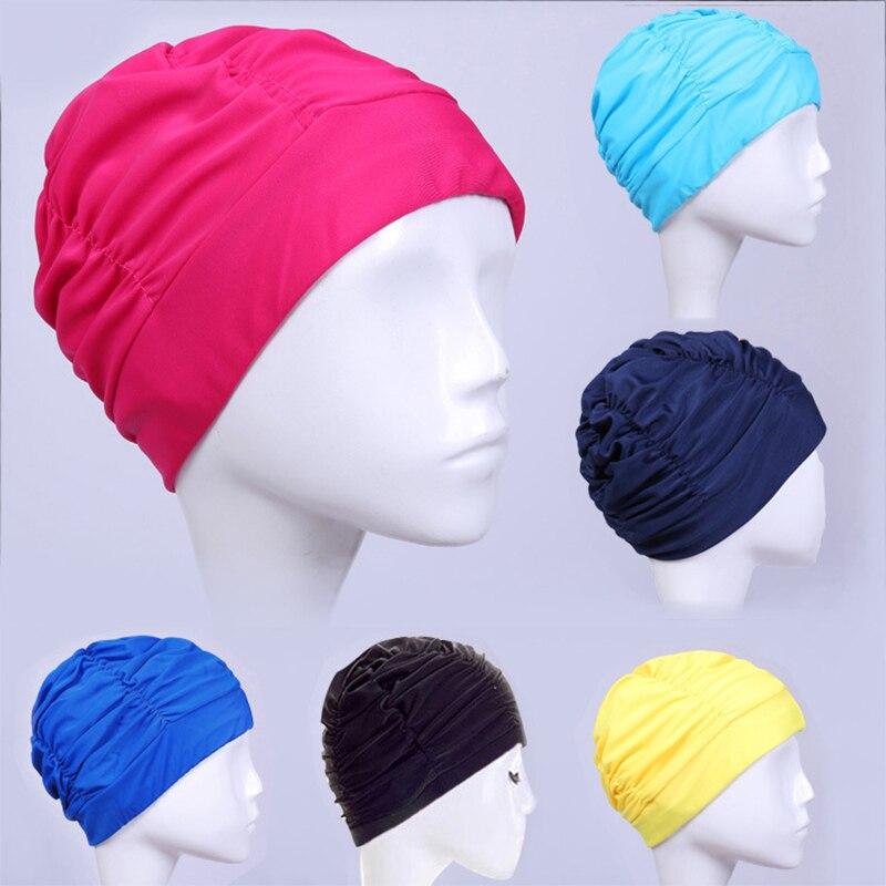 2020 mulheres natação boné novo elástico tecido de náilon proteger orelhas de cabelo longo esportes nadar piscina chapéu para feminino tamanho livre nadar chapéu