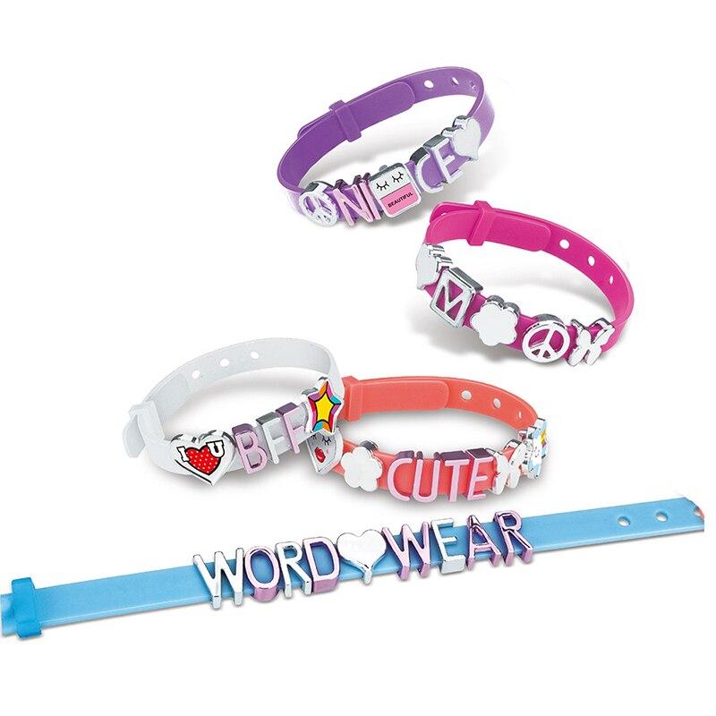 Самодельные Игрушки для девочек, самодельные плетеные детские ремесла, браслет с буквами, ожерелье, семейные наручные часы для девочек с на...