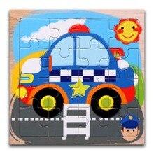 Puzzles en bois jouets 16 pièces enfants joie qualité supérieure Puzzle bois dessin animé bleu voiture animaux Puzzle jouets éducatifs pour les enfants