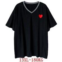 Große größe frauen T-shirt liebe druck große größe 8XL 9XL 10X 12XL13XL sommer V-ausschnitt kurzarm lose große größe schwarz top