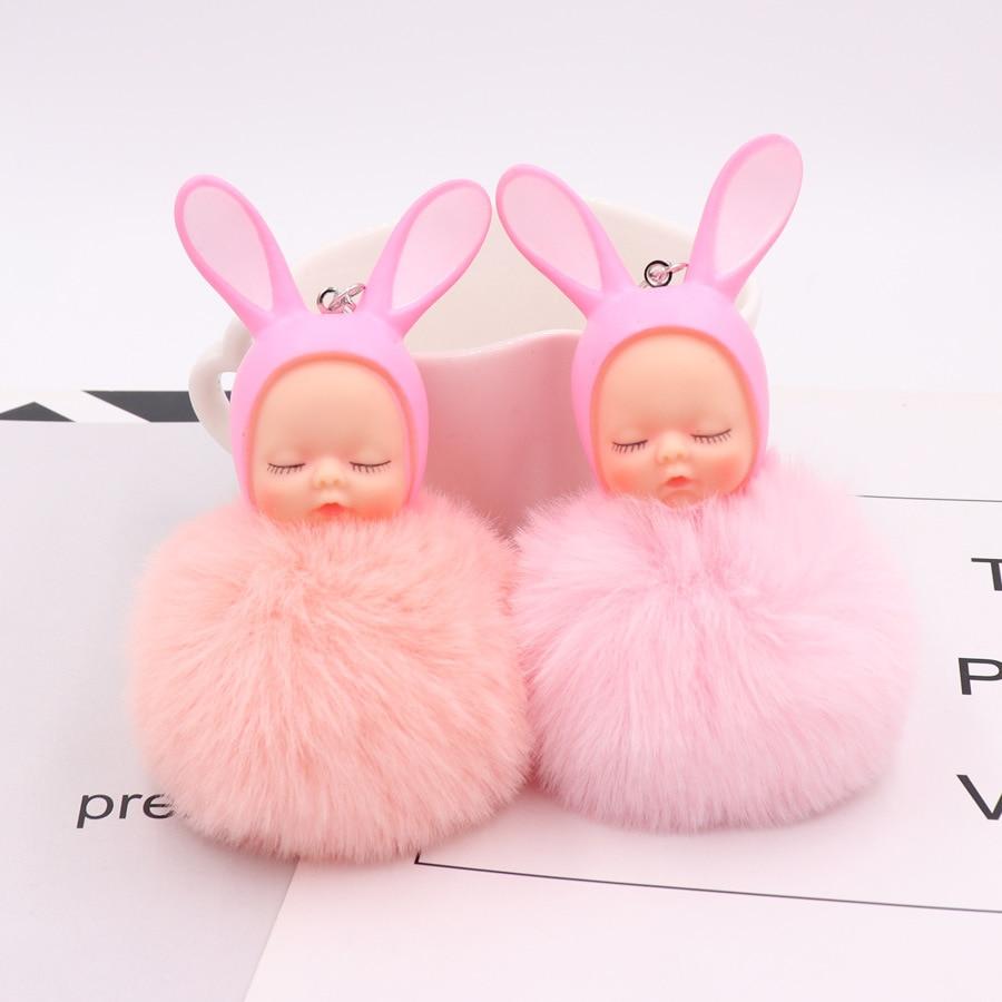Lindo conejo orejas bebé muñeca llavero flor pompón llave de la bola de piel de conejo cadena mullido coche llavero porte clef bolsa llavero