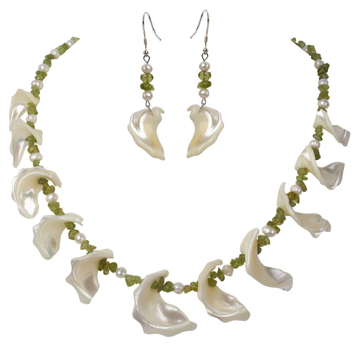 YACQ-عقد من الفضة الإسترليني عيار 925 مع أم اللؤلؤ والزبرجد ، قلادة ، أقراط متدلية ، أطقم مجوهرات ، هدايا للنساء