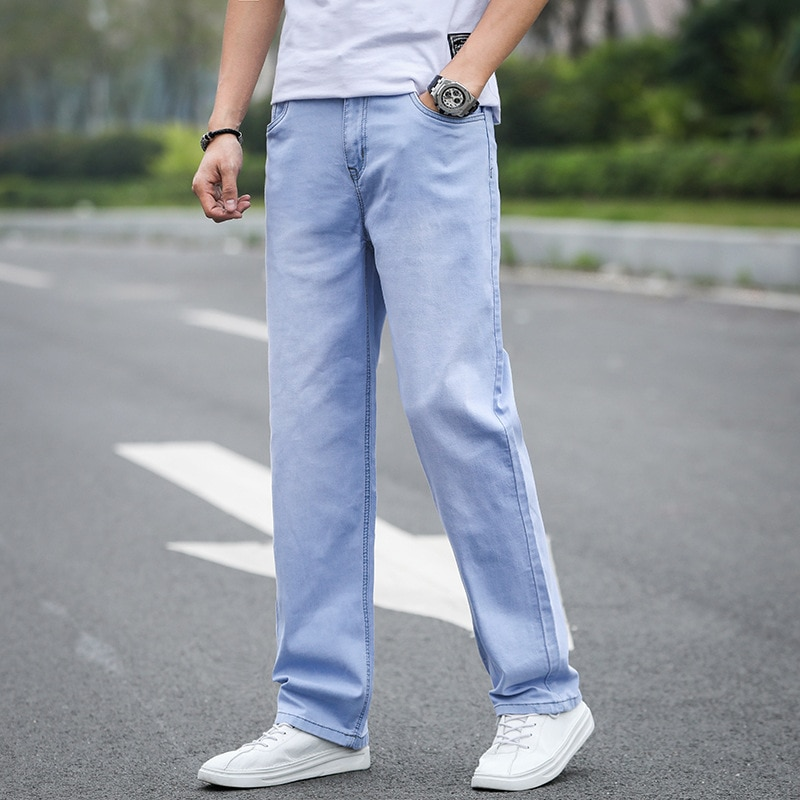 Мужские джинсы в деловом стиле, Стрейчевые прямые брюки, Мужская одежда, мужские джинсы, облегающие джинсы, мужские свободные джинсы
