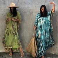 2021 bohemian striped print women beach dress bathing suit cover up summer tunic for woman beachwear robe de plage kaftan q1218
