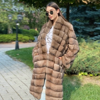 2021 New Real Fox Fur Coat Stand Collar Long Length High Quality Genuine Fox Fur Coats Thick Warm Winter Fur Overcoats Female