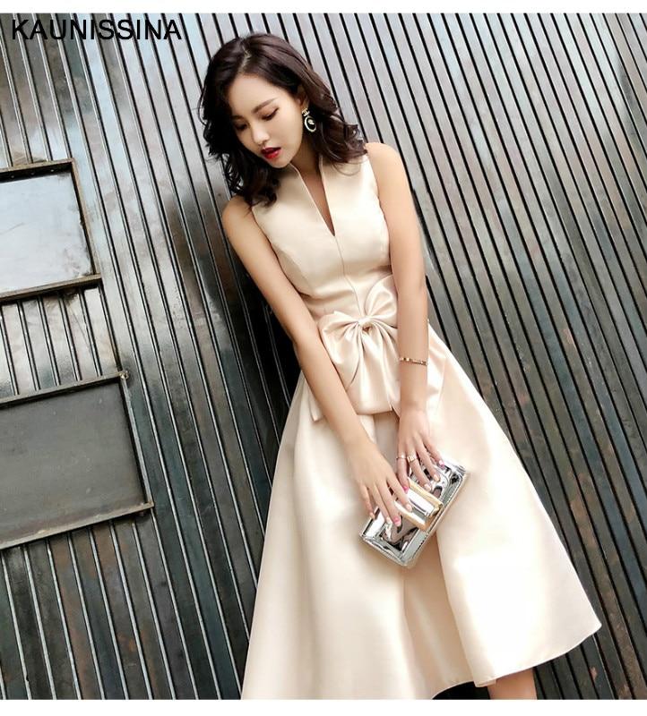 KAUNISSINA şampanya kokteyl elbiseleri parti elbise Midi zarif standı yaka ilmek kolsuz A-Line balo elbise Vestido