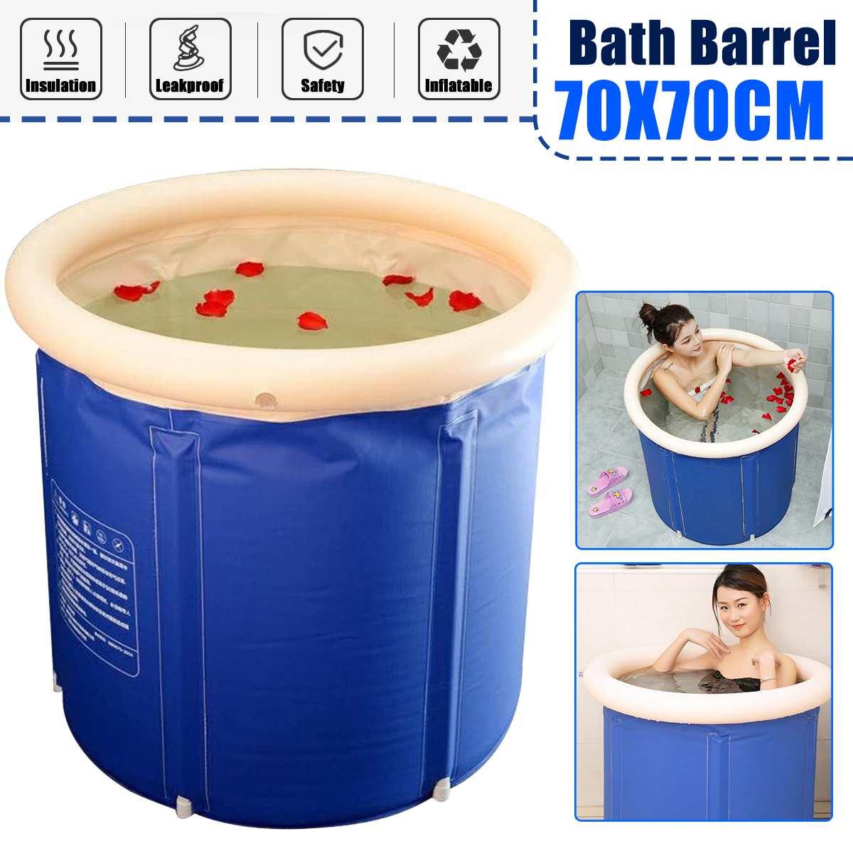 70x70cm Folding Bathtub Home Large Adult Bath Barrel Thickening Children Folding Bucket Inflatable Small Apartment