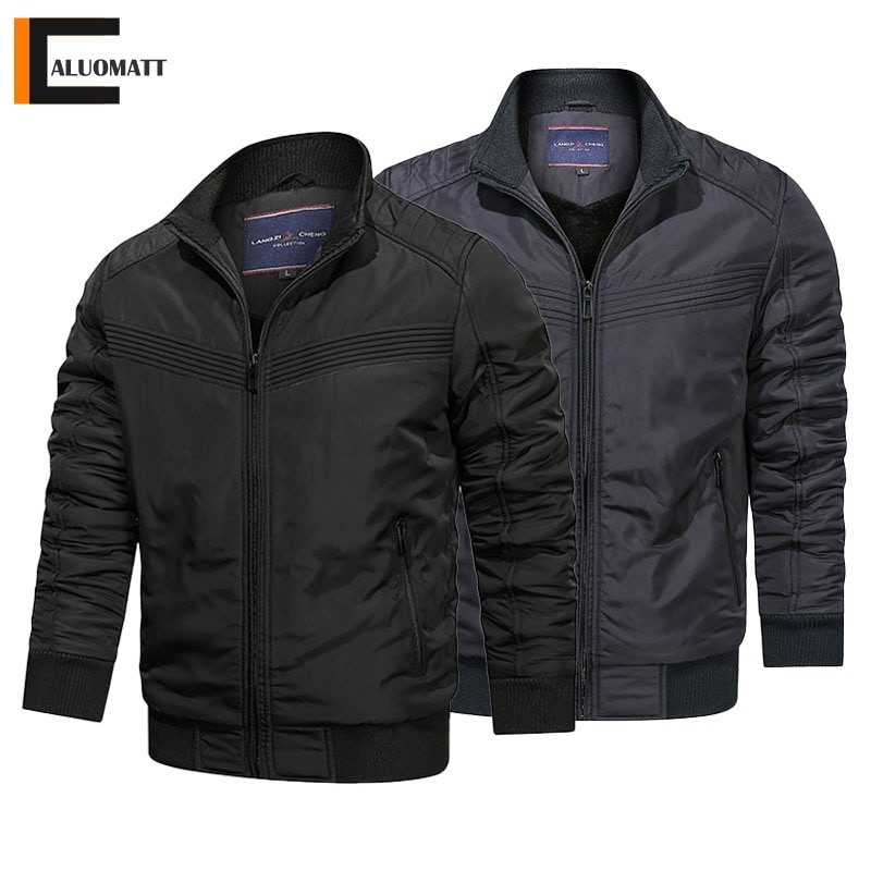 Winter Mens Bomber Jackets Fashion Stand Collar Coats Outerwear Thicken Warm Cargo Military Pilot Jacket Male Windproof Parkas