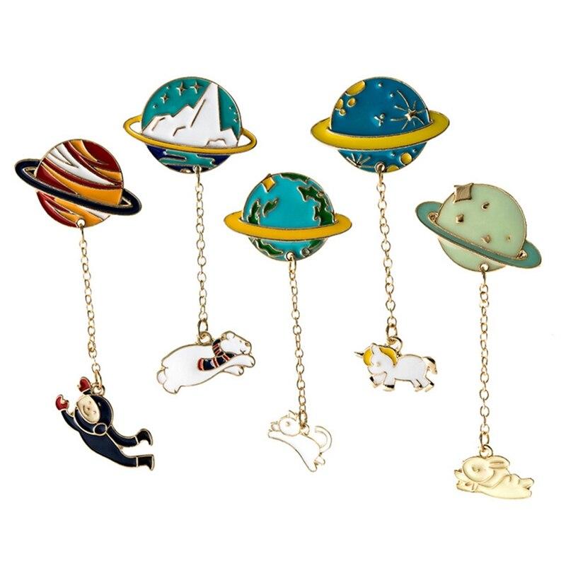 Fashion Astronaut Earth Moon Rabbit Saturn Mars Planet Brooches Women Men  Denim Jacket Lapel Pin Coat Collar Badge Jewelry