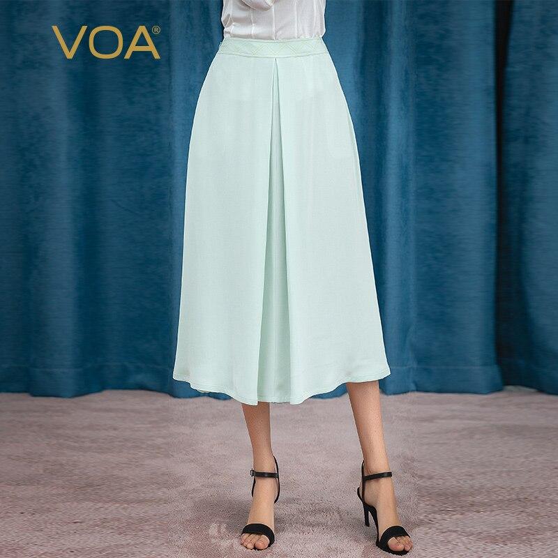 VOA Mint Green 30mm Heavyweight Silk Medium Waist Bright Line Decoration Crisp Vertical Pendant Commuting Ladies Skirt  C676