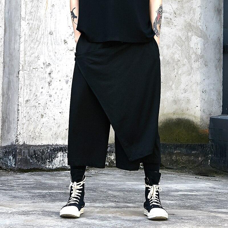 الرجال الربيع والخريف جديد غير النظامية مغلفة تصميم الظلام فضفاض عادية واسعة الساق بنطلون تنورة